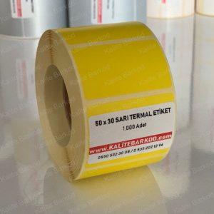 termal etiket Termal Etiket Nedir, Termal Etiket Özellikleri 50 x 30 sari termal etiket 300x300
