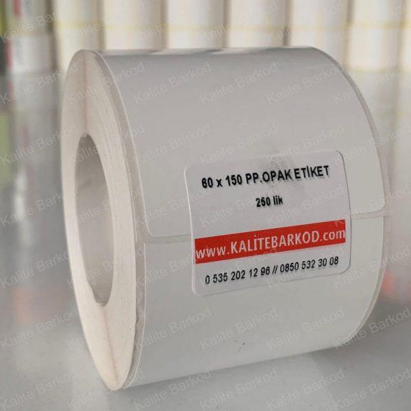 60x150 plastik pp opak barkod etiket