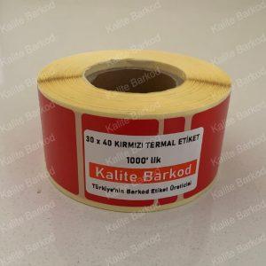 40x30 kırmızı termal etiket